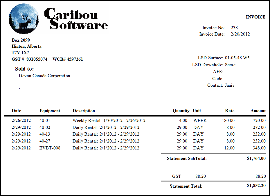 Oilfield Rental Features Caribou Software - Equipment rental invoice